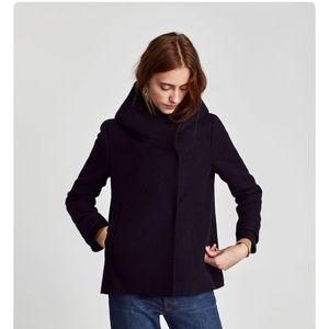 Zara Basic  Black Short Coat Wrap Around Collar